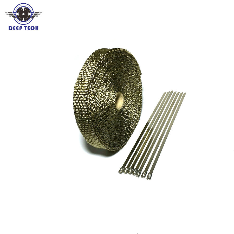 15M / 50ft Exhaust Wrap For Motorcycle Exhaust Muffler Pipe Header Exhaust Pipe Wrap Heat Wrap 6 Pcs Cable Ties