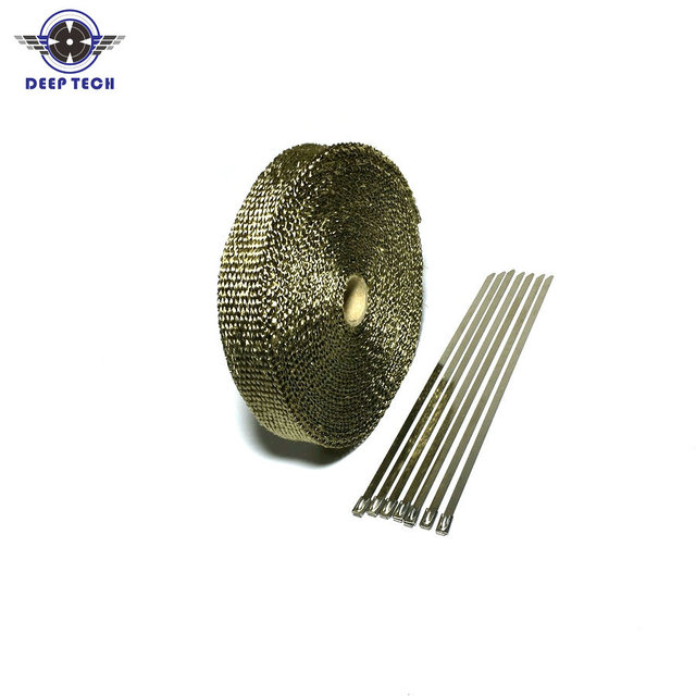 15M / 50ft  Exhaust Wrap For Motorcycle Exhaust Muffler Pipe Header Exhaust Pipe Wrap Heat Wrap T 6 Pcs Cable Ties