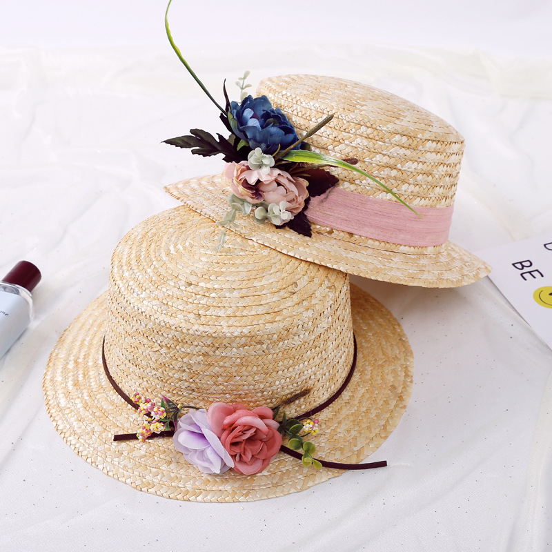 2018 Girls Summer New Hats New Straw Women Sun Hat With flowers Spring Summer Hat wave Brim Sunbonnet Flower Straw Hats
