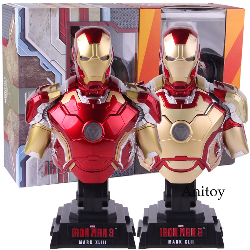 Iron Man 3 Mark XLII MK 42 MARK XLIII MK 43 1/4 Scale Bust Iron Man Figure With LED Light PVC Collectible Model Toy