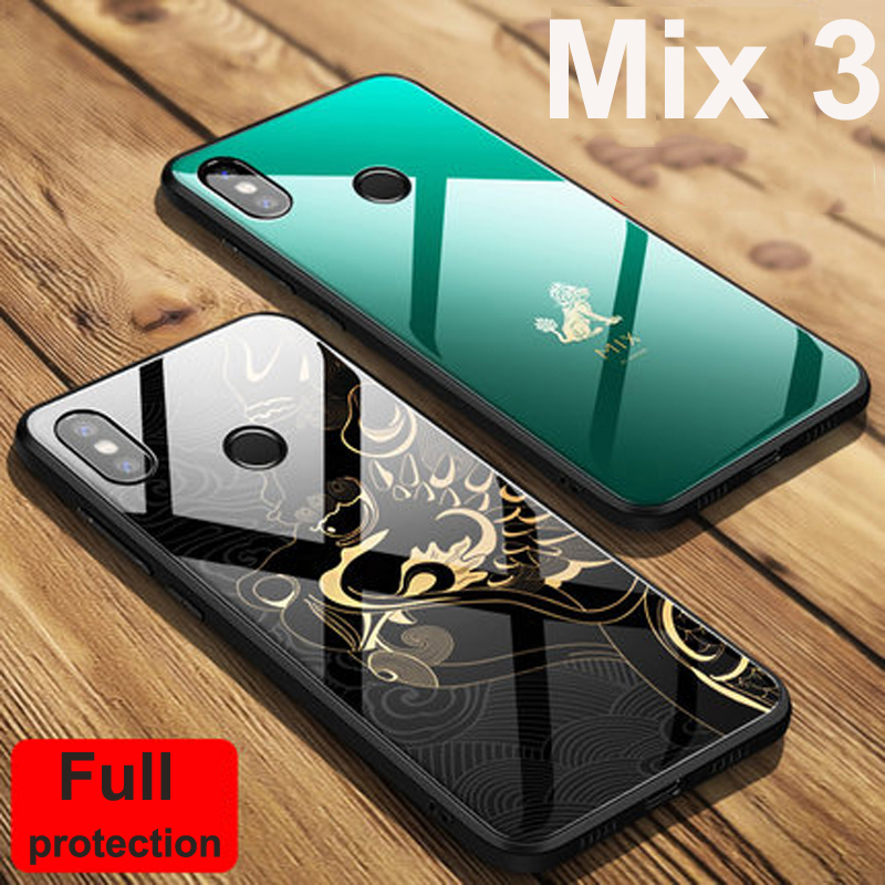 Green For xiaomi mi Mix 3 case Mix3 beast Forbidden City Edition Tempered glass cover For