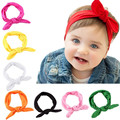 Headband Baby for Girls Turban Rabbit Bow Ear Solid Cotton Hairband Headbands Turban Head Wraps Hair Accessories cheveux bebe