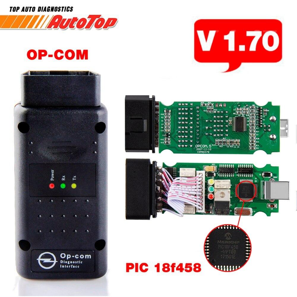 2018 OP COM V1.70 OBD2 OBD 2 Autoscanner with PIC18F458 OP-COM for Opel OPCOM for Opel Car Diagnostic Tool V1.7 Free Software op com car vehicle diagnostic tool black