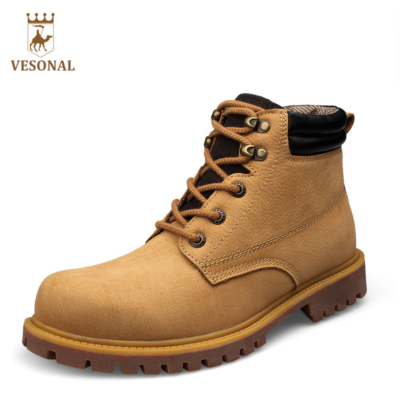 купить VESONAL Hot Sale 2017 Brand Ankle Work Safety Casual Army  Men Boots Male Shoes Winter Genuine Leather Rubber Boot Quality Man дешево