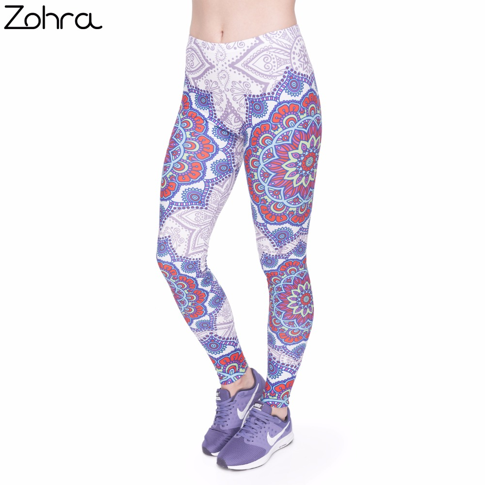 Zohra Fitness   Legging   Elegant Red Mandala Printing Fashion Bottoms Sexy High Waist   Leggings   Women Pants