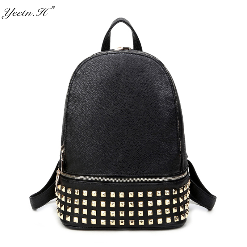 Fashion Women Backpack High Quality Portable Rivet Waterproof PU Backpacks for Teenage Girls School Shoulder Bag Bagpack ...