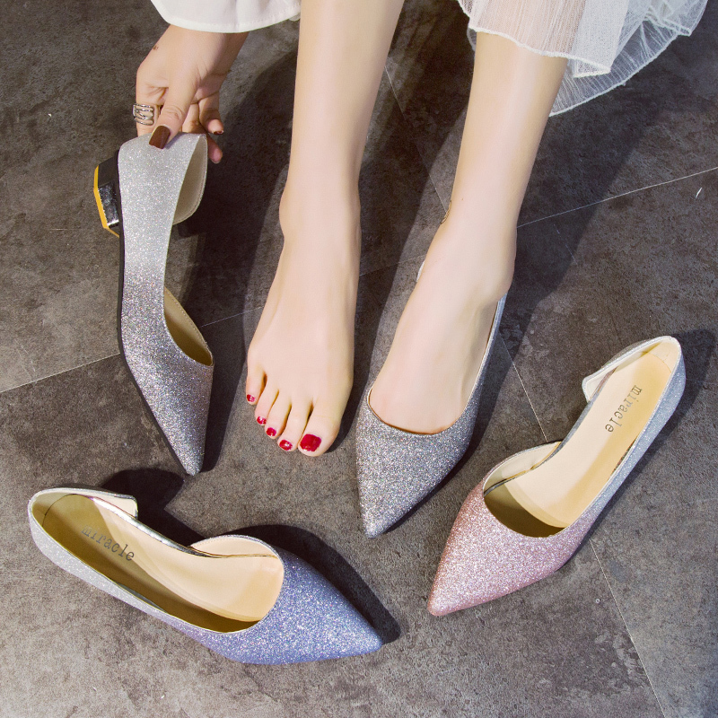 EOEODOIT Spring Autumn Casual Low Heels Shoes Women Shallow Mouth Side Empty Glitter Gradient Pumps Shoes Summer SandalsEOEODOIT Spring Autumn Casual Low Heels Shoes Women Shallow Mouth Side Empty Glitter Gradient Pumps Shoes Summer Sandals