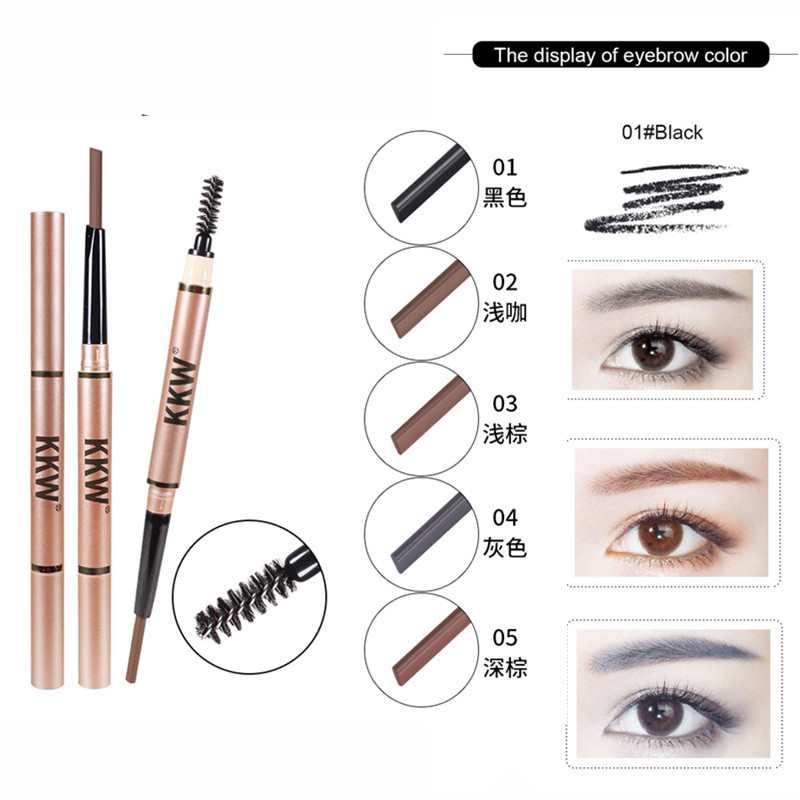 KKW Eyebrow Pencil Long Lasting Waterproof Double Head Eye Brow Pen 5 Colors Brow Tint with brush Makeup 2019 maquiagem pro
