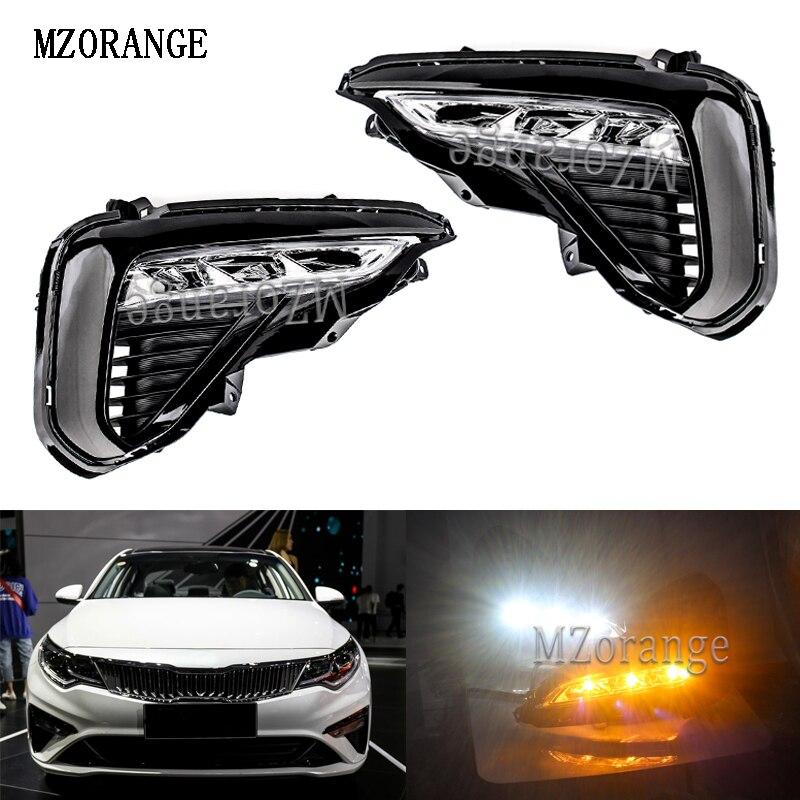 MZORANGE Blanc Jaune Clignotants Pour KIA K5 2019 Voiture DRL Feux de jour LED Lampes Auto Externe Avant Brouillard lumière