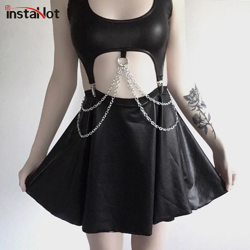 InstaHot Chain Gothic Low Cut   Tank     Tops   Women Faux Leather Sexy Clubwear PU Corset Sleeveless Crop   Top   Clip Camis Black Stretchy