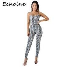 Echoine Casual Snake Print Jumpsuit Spaghetti Straps Bodysuit Cross Bandage Slee