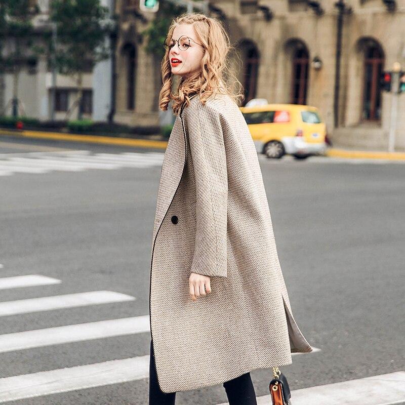 Femmes Nouveau Camel D'extérieur Manteaux Veste D'hiver Femme Vêtements 2019 Chic Plaid Dame Mode De Laine Kaki Épaissir Chauds Manteau Mélanges rTqxR64Hwr
