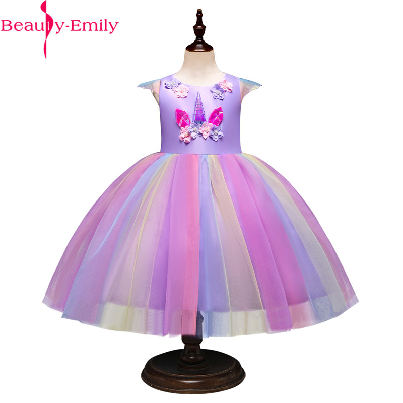 Beauty Emily Knee Length Sleeveless   Flower     Girls     Dress   3 Styles Appliques Colorful Party Costumes Halloween   Dress   with Sashes