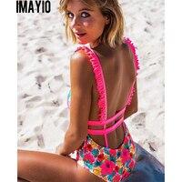 66cd6b7400972 Imayio 2018 One piece swimsuit women sex backless swimwear Halter bathing  suit 5colors ruffle beachwear free