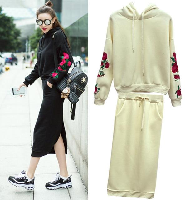 d05cffd7662d Women clothing Set 2016 Autumn Winter Woman Casual Fleece Embroidery  Hoodies Set Long Sleeve Hooded Tops