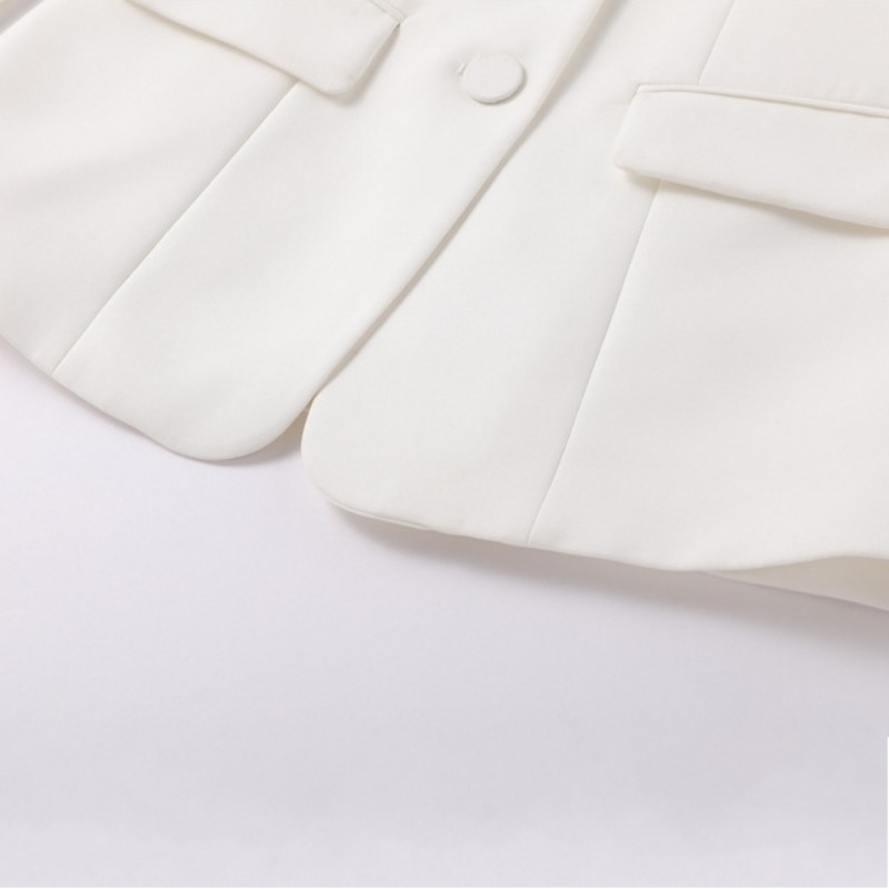 Office Dames Slim Fit White Solid Flare Broek Past Lange Mouw Enkele Breasted Blazer Suits Fashion Womens Tweedelige Sets 2019 - 5