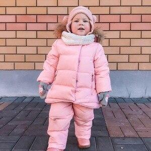 Image 2 - IYEAL/детская одежда для русской зимы лыжный костюм для малышей, парка пуховик + комбинезон комплекты одежды для девочек плотная теплая верхняя одежда для детей