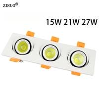 15W 21W 27W COB LED Recessed Downlight AC85 265V LED Panel Ceiling Recessed Light COB Downlight