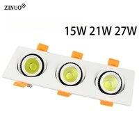 15W 21W 27W COB LED Recessed Downlight AC85 265V LED Panel Ceiling Recessed Light COB Downlight