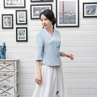 Light Blue Casual Cotton Linen Ladies Spring Summer Button Chinese Women Flower Shirt Chinese Vintage Tops