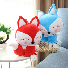 New 1pc Cute Red And Blue Little Fox Stuffed FOX IN 30/40/50CM Kawaii Animal Plush Toy Doll Baby Kid'S Gift Mini Plush Toys цена