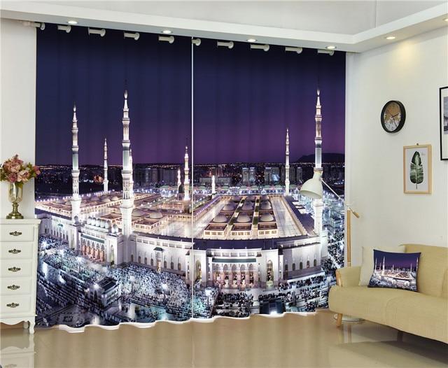 2017 mecque grande mosquée blackout fenêtre rideaux de luxe 3d