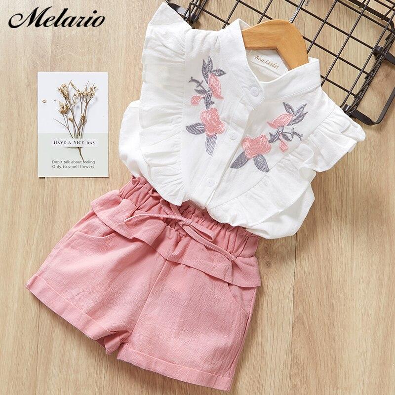 Clothing sets 2019 fashion sleeveless print summer style baby boys girls Shirt + shorts + belt 3pcs suit children clothing sets