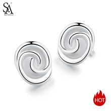 SA SILVERAGE Flower Silver 925 Big Earings Stud Brincos Pendientes 925 Sterling Silver Rose Stud Earrings for Women Fine Jewelry