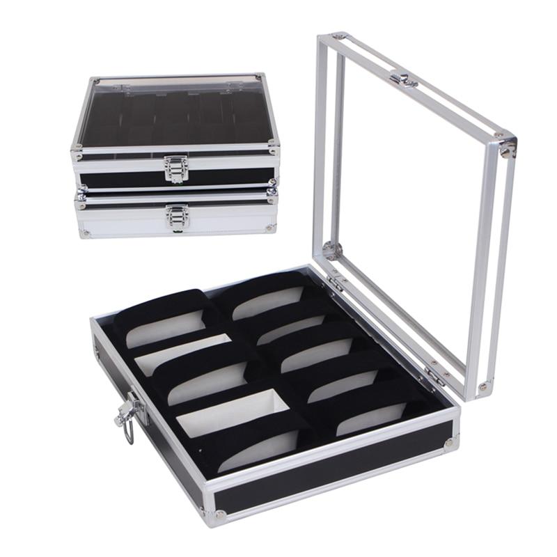 10 Grid Insert Slots Jewelry Luxus Watchbox Display Storage Watch Box Case Aluminium Jewelry Decoration Skmei Caja Reloj HZ15