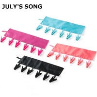 JULY'SONG 4Pcs Windproof Foldable Travel Cloth Hanger Clips Solid Socks Drying Hanger Rack Portable Bathroom Clothespin Bag Set