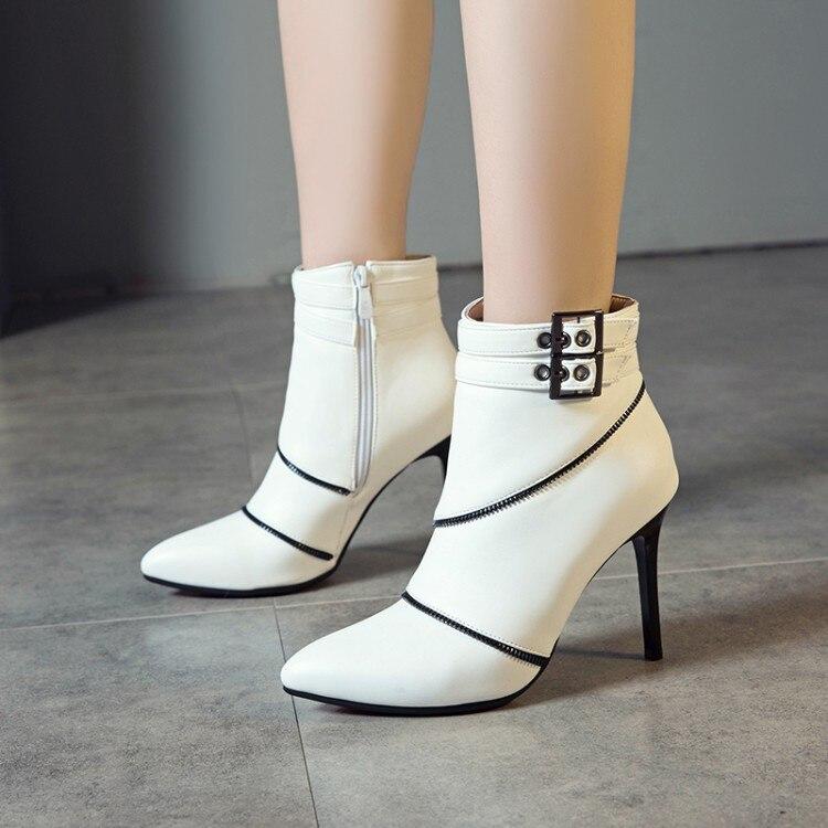 Grande taille 9 10 11-19 bottes femmes chaussures bottines pour femmes dames bottes fermeture à glissière latérale avec fermoir en métal