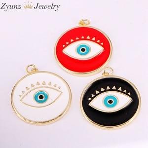 Image 2 - 30 pièces de pendentifs en émail, mélange aléatoire, perles oculaires en émail, rondes, étoiles, lèvres, mains, yeux, pour collier, découvertes pour bijoux