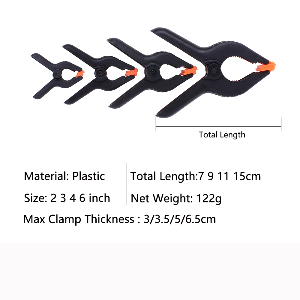 4pcs Spring Clamps Set 2 3 4 6 Inch Nylon Heavy Duty For Woodworking