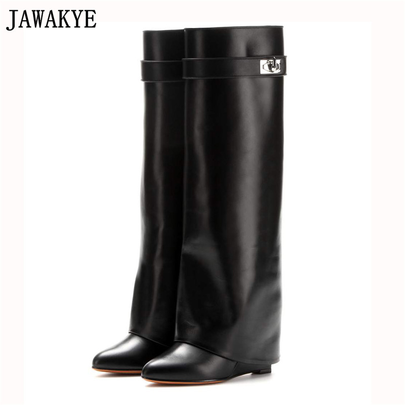 JAWAKYE Fashion genuine Leather Shoes Woman Pointed Toe Motorcycle Booties Belt Strap Metal Shark Lock Wedge Knee High Boots цена