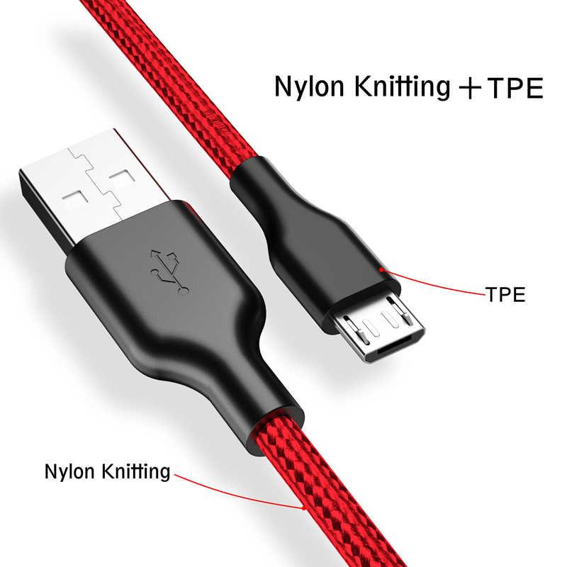 روك المصغّر USB كابل مزامنة البيانات USB كابل شحن سامسونج هواوي شاومي LG Andriod مايكرو USB كابل الشاحن 1 متر 2 متر الحبل