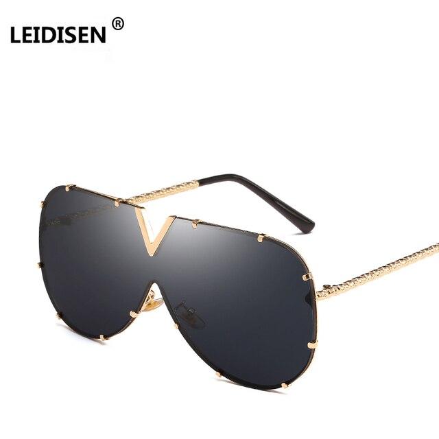 487d0f759d7 LEIDISEN 2018 One Piece Sunglasses Men Brand Designer High Quality  Oversized Sunglasses For Women Sunglass Metal