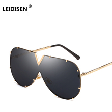 LEIDISEN 2018 One Piece Sunglasses Men Brand Designer High Quality Oversized