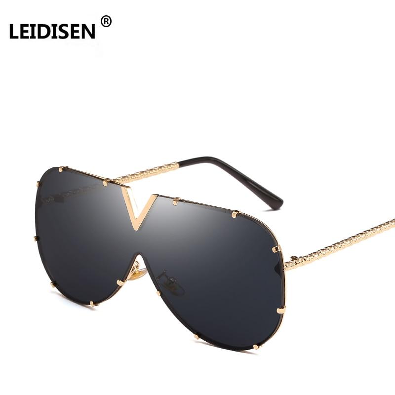 LEIDISEN 2018 One Piece lunettes de soleil hommes marque Designer haute qualité surdimensionné lunettes de soleil pour femmes lunettes de soleil en métal UV400 miroir