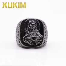 Xukim Jewelry High quality Fashion Custom Color Religious Jesus 316L Stainless Steel Ring for Men недорого