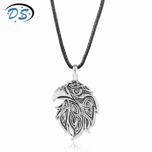 Viking necklace scottish irish knots pattern crow head pendants viking necklace scottish irish knots pattern crow head pendants necklace leather rope chain colar cosplay jewelry aloadofball Images