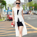 Women Vest Summer Long Vest Coat Jacket 100% Silk Cotton Outwear Vest Coat White/Black Kimono Cardigan 2015 Summer Style