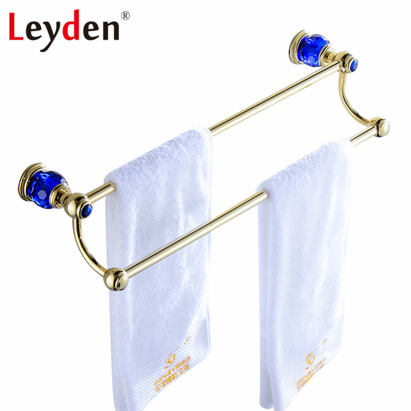 Leyden Luxury Gold Finish Blue Crystal Double Towel Bar Towel Hanger Brass Wall Mounted Towel Rack Bar Holder Bathroom Accessory leyden luxury gold finish blue crystal double cup tumbler holder brass wall mounted toothbrush tumbler holder bathroom accessory