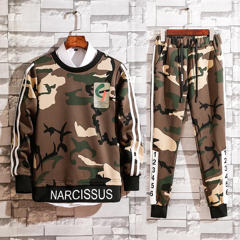 Tracksuits Men Winter 2018 Tracksuit Set Solid Sweat Suit Men Track Suits Set Coat+Pants Camouflage Outwear SportsSuit Jacket