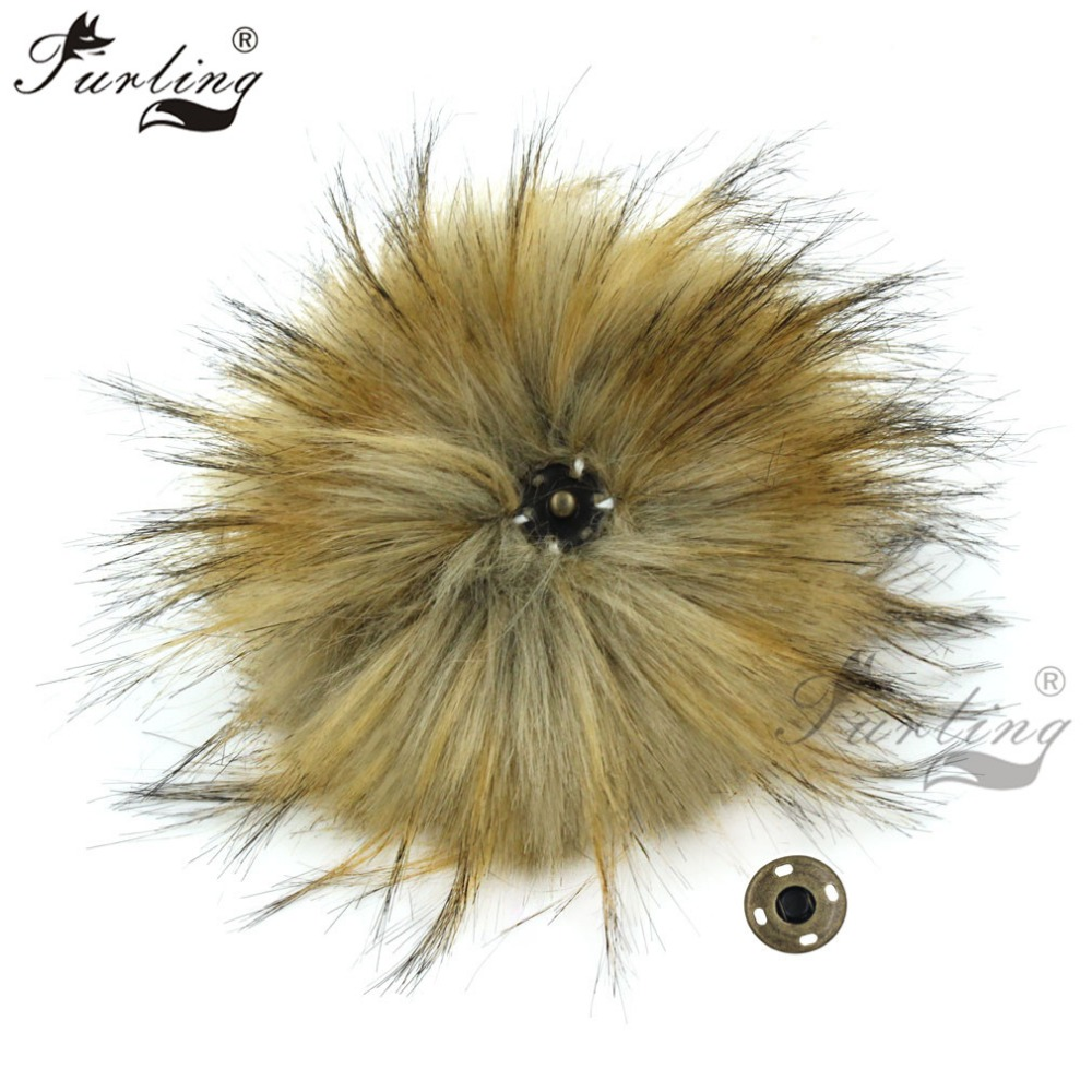 Furling 1PC Fluffy 15CM Faux Raccoon Fur Pompoms Ball with Press Button Hat Accessories Press Stud Ball for   Beanie   Caps