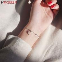 HFXSSSP S925 silver pop inlaid rhinestone curved moon mini star tassel romantic star month bracelet jewelry moon star rhinestone studded bracelet watch