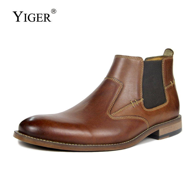 YIGER New Men Chelsea boots Genuine Leather 2018 Man Ankle Boots man Super Large size 40-50 shoes winter slip-on male shoes 0210