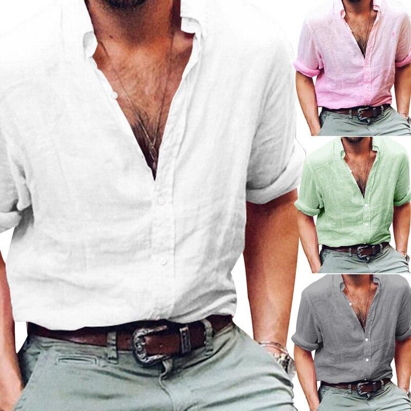 2137d24f4c90e VERTVIE Hot Sales Cotton Linen Shirts Men Long Sleeve Summer Fashion  Hawaiian Shirts Sexy Slim Fit Men Clothes Plus Size 3XL