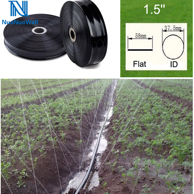 50 mètres-rouleau tuyau d'irrigation goutte à goutte tuyau souple ruban de jardin Kit d'irrigation 1.5 ''ligne d'égouttement plat auto arrosage lit de légumes surélevé