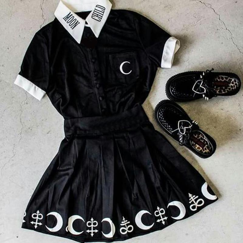 Gothic Blouse Black Moon Child Print Short Sleeve Loose Casual Female Shirts Plus Size S-5XL Darkness Summer Chic Goth Blouses