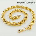Accessories Rope Stainless Steel Necklace Chain For Men's Women's Gold christmas gift Jewelry Wholesale&Free Shipping KN064A
